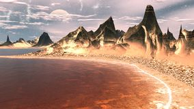 Alien Planet. Mountain and  water. 3D rendering. Fantasy alien planet. Mountain and water. 3D illustration Stock Photography