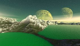 Alien Planet. Mountain and  water. 3D rendering. Fantasy alien planet. Mountain and water. 3D illustration Stock Images