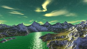Alien Planet. Mountain and  water. 3D rendering. Fantasy alien planet. Mountain and water. 3D illustration Royalty Free Stock Photography