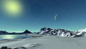 Alien Planet. Mountain and  water. 3D rendering. Fantasy alien planet. Mountain and water. 3D illustration Stock Image