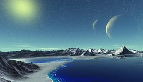 Alien Planet. Mountain and  water. 3D rendering. Fantasy alien planet. Mountain and water. 3D illustration Stock Photo