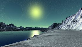 Alien Planet. Mountain and water. 3D rendering royalty free stock photos