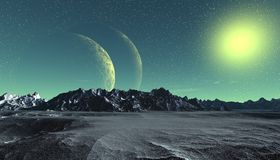 Alien Planet. Mountain and water. 3D rendering stock images