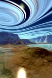 Alien Planet. Mountain and water. 3D rendering stock image