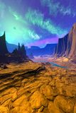 Alien Planet. Mountain and water. 3D rendering stock photo