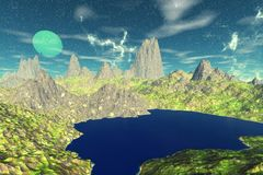 Alien Planet. Mountain and  water. 3D rendering. Fantasy alien planet. Mountain and water. 3D illustration Royalty Free Stock Photo