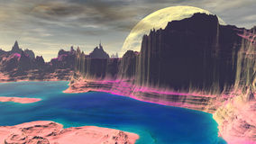 Fantasy alien planet. Rocks and lake. 3D illustration Royalty Free Stock Photo