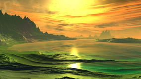 Fantasy alien planet. Rocks and lake. 3D illustration Stock Image