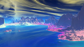 Fantasy alien planet. Rocks and lake. 3D illustration Stock Photography
