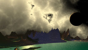 Fantasy alien planet. Rocks and lake. 3D illustration Royalty Free Stock Images