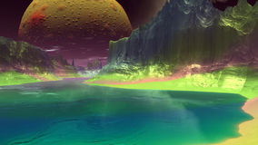 Fantasy alien planet. Rocks and lake. 3D illustration Stock Photos