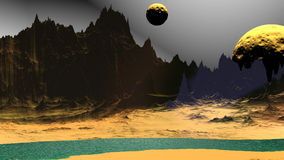 Fantasy alien planet. Rocks and lake. 3D illustration Stock Photo