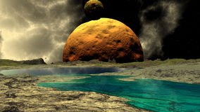 Fantasy alien planet. Rocks and lake. 3D illustration Royalty Free Stock Photography