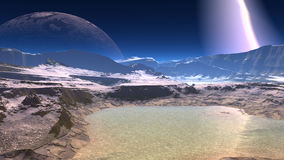 Fantasy alien planet. Rocks and lake. 3D illustration Stock Images