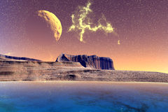 Fantasy alien planet. Rocks and lake Royalty Free Stock Image