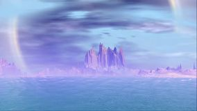 Fantasy alien planet. Rocks and lake stock footage