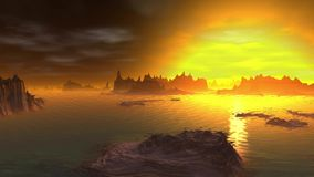 Fantasy alien planet. Rocks and lake stock video footage