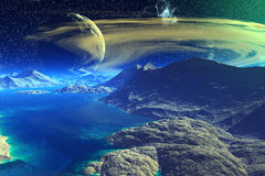 Fantasy alien planet. Rocks and  moon Royalty Free Stock Photos