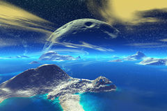 Fantasy alien planet. Rocks and  moon Royalty Free Stock Images