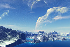 Fantasy alien planet. Rocks and  moon Royalty Free Stock Photography