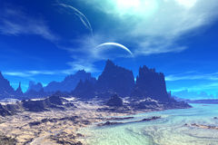 Fantasy alien planet. Rocks and  moon Stock Photo