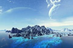 Fantasy alien planet. Rocks and  moon Stock Photography