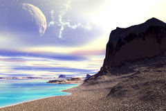Fantasy alien planet. Rocks and  moon Royalty Free Stock Image