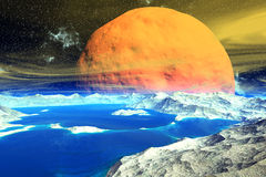 Fantasy alien planet. Rocks and  moon Royalty Free Stock Photo