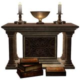 Fantasy altar with books Stock Photo
