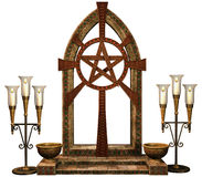 Fantasy altar with candles Royalty Free Stock Photo