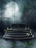 Fantasy altar with candles and skulls Royalty Free Stock Photography