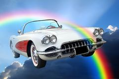 Fantasy american dream convertible sky clouds ride royalty free stock photos