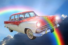 Fantasy american dream convertible sky clouds ride royalty free stock photo