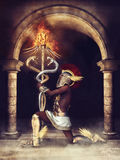 Fantasy ancient priest. With a burning caduceus, kneeling in front of a dark gate royalty free illustration