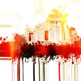 Fantasy ancient roman temple with fire and flames effects. Graphic element. Fantasy ancient roman temple with fire and flames effects. Design element Stock Photo