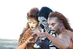 Fantasy Animal Trio. Three Fantasy animal Special effects make-up creations by Racye Bird stock photography