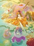 Fantasy anime cartoon illustration of some funny characters in colorful costumes Stock Images