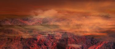Fantasy Apocalypse .Illustration of fantastic landscape of red planet Stock Images