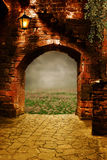 Fantasy arch. Fantasy background for art projects with nature scene vector illustration