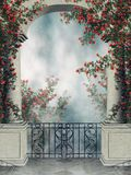 Fantasy arch with rose vines. Fantasy arch with a balcony and colorful rose vines Stock Images