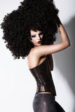 Fantasy. Art. Futuristic Fashion Model in Curly Black African Wig Stock Images