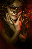 Fantasy art, woman with venetian mask, cabaret Royalty Free Stock Image