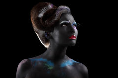 Fantasy. Artistry. Extravagant Woman with Creative Futuristic Bodyart Stock Photo