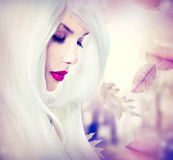 Fantasy autumn girl. With long white hair Royalty Free Stock Photography