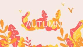 Fantasy autumn leaves background template vector illustration flat design vector illustration