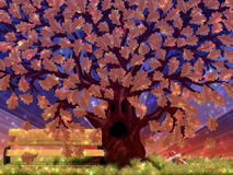 Fantasy autumn oak tree Stock Photos
