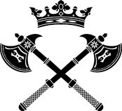 Fantasy axes and crown Stock Image