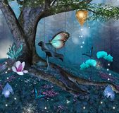 Enchanted tree in the middle of the blue forest. Fantasy background with colorful flowers in a blue forest scenery - 3D illustration royalty free illustration