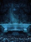 Fantasy background dark forest bench Royalty Free Stock Images