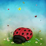 Background with ladybug. Fantasy background with flowers and ladybug for children`s cards, poster or illustration. Computer graphics stock illustration